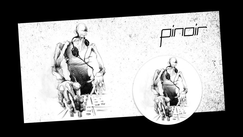 Headerbild und Profilbild mit Portrait Illustration Techno-DJ Pinoir