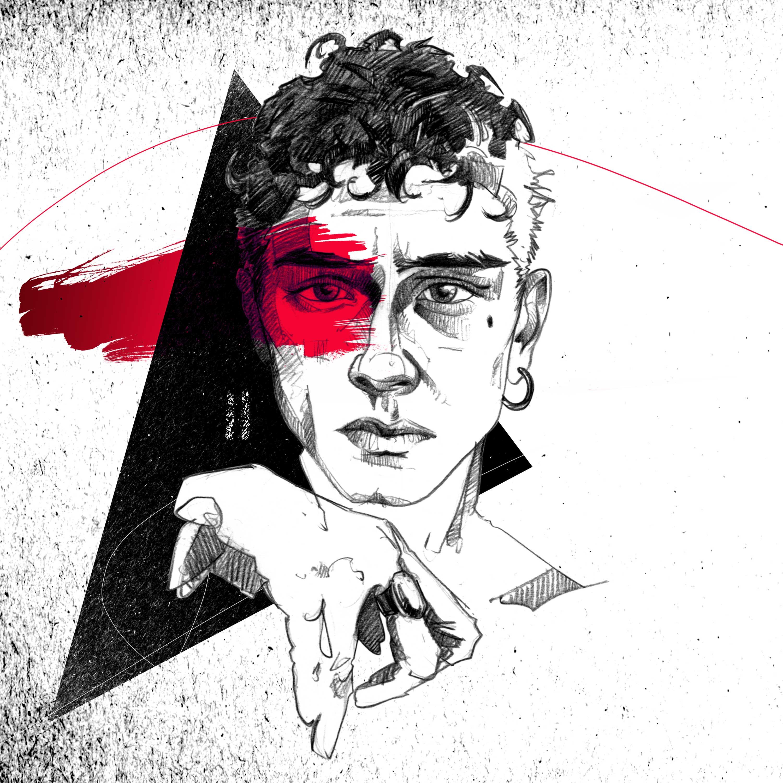 Portrait Illustration Aron Piper aus der Netflix Serie Elite
