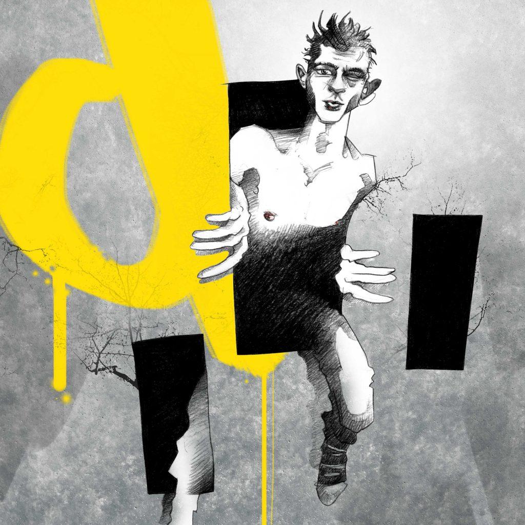 Portrait Illustration Jannis Niewöhner als Beat steigt aus einem Loch einer Mauer heraus