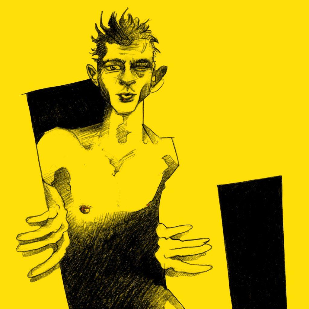 Portrait Illustration Jannis Niewöhner aus der Serie Beat