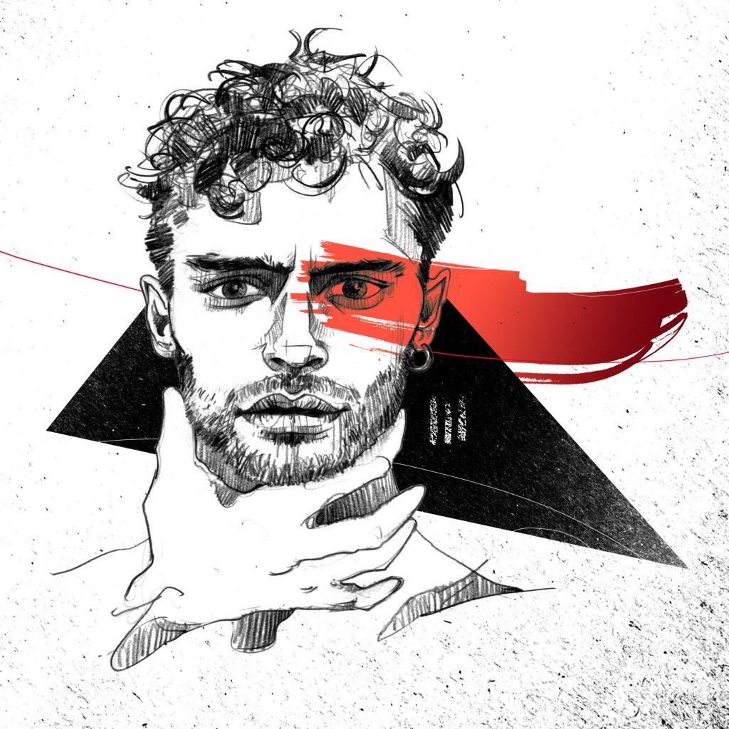 Portrait Illustration Sebastian de Souza aus der Serie Skins