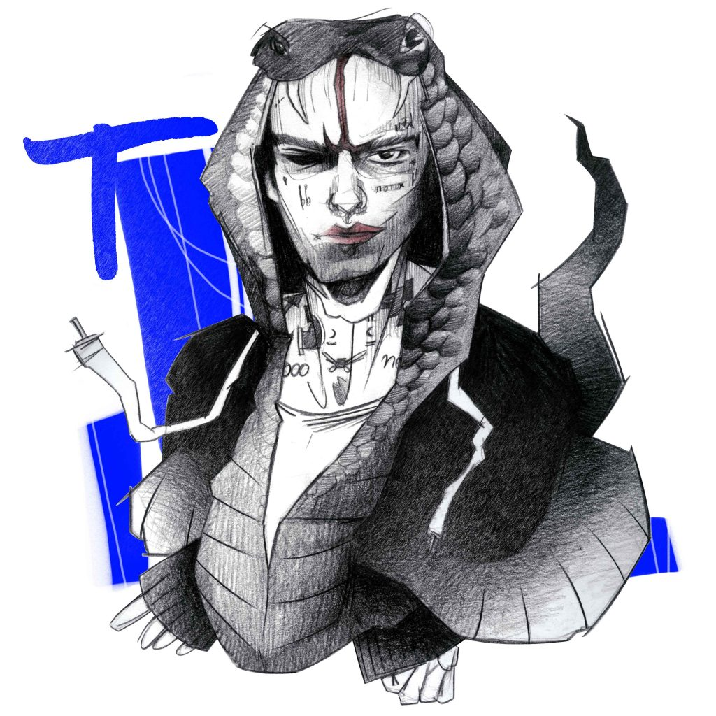 Portrait Illustration des Youtubers und Musikers Taddl in Form einer Cobra