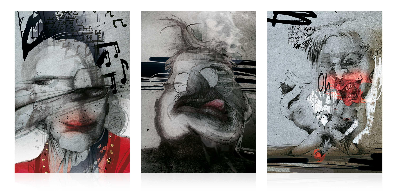 Drei Portrait-Illustrationen von Exzentrikern