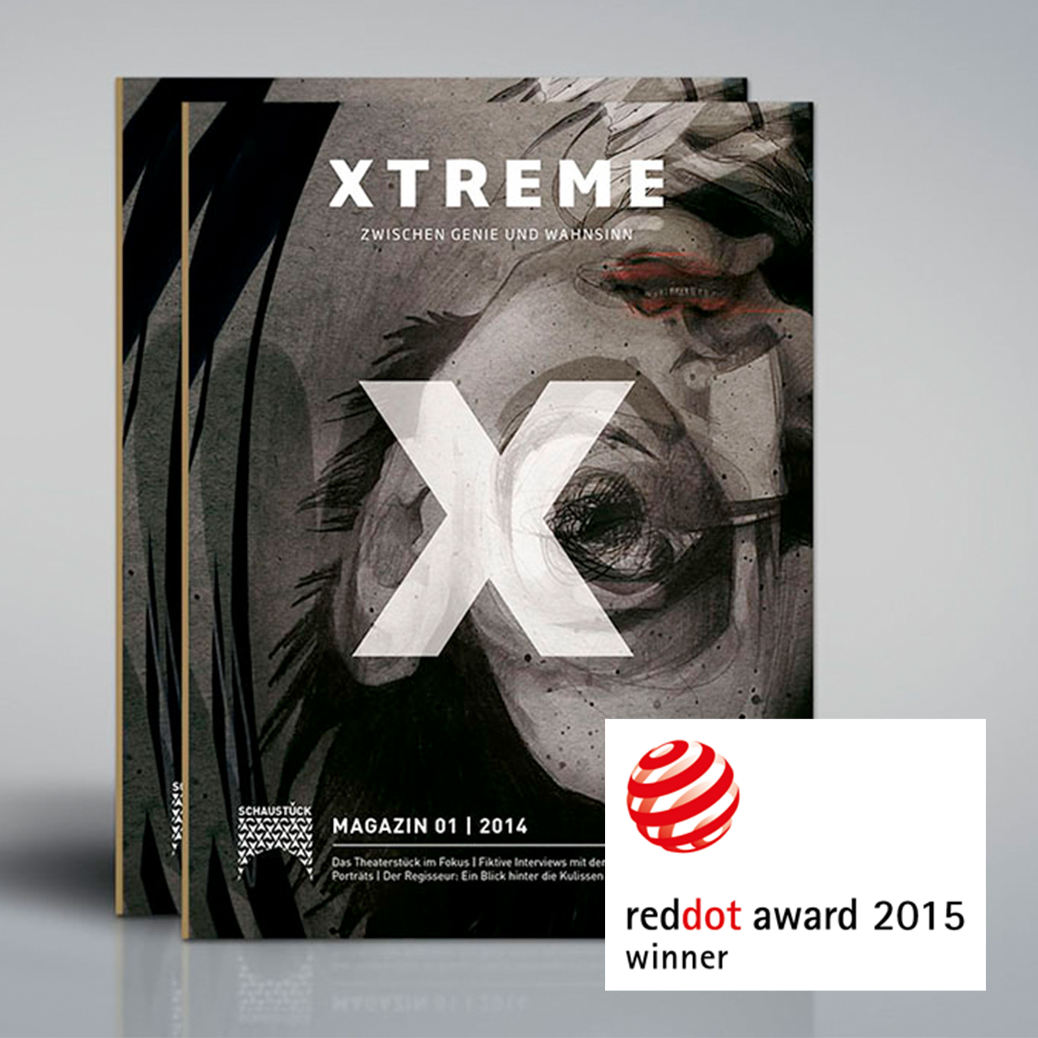 Magazin Cover 'Xtreme: Zwischen Genie und Wahnsinn' mit Logo Auszeichnung Red Dot Award Winner