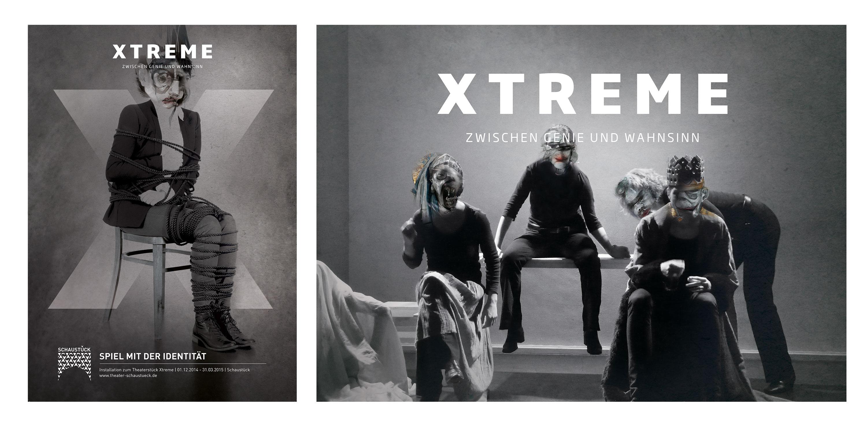 Plakat mit Fotocollage und Illustration Harry Houdini für das fiktive Theaterstück X auf illustriertem Hintergrund zum fiktiven Theaterstück ''Xtreme: Zwischen Genie und Wahnsinn'