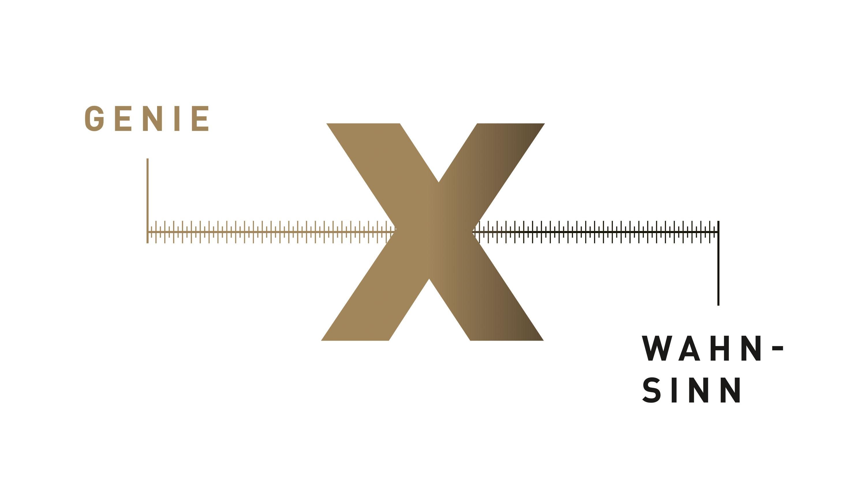 Grafik mit einem X auf einer Skala zwischen Genie und Wahnsinn zur Theater Kampagne Magazin Cover 'Xtreme: Zwischen Genie und Wahnsinn'