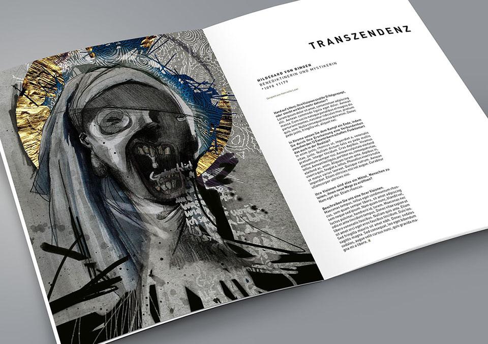 Magazin Innenseite 'Xtreme: Zwischen Genie und Wahnsinn'mit Illustration: Hildegard von Bingen