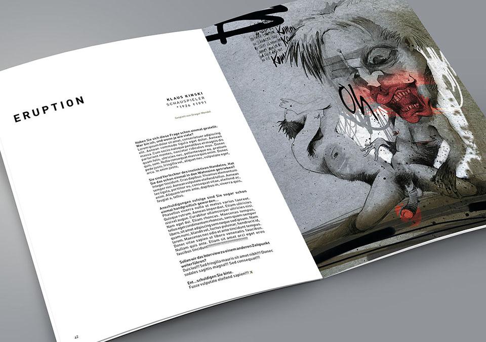 Magazin Innenseite 'Xtreme: Zwischen Genie und Wahnsinn' mit Illustration Exzentriker Klaus Kinski
