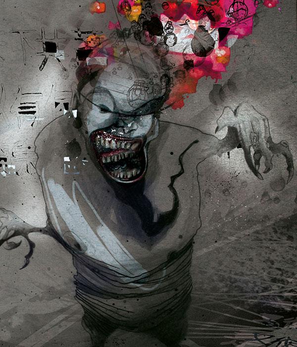 Portrait Illustration Exzentriker Quin Shihuangdi für das fiktive Theaterstück 'Xtreme: Zwischen Genie und Wahnsinn'
