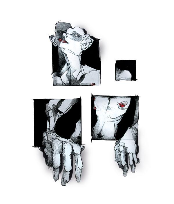 Illustration einer Figur, die aus einer Mauer herausschaut