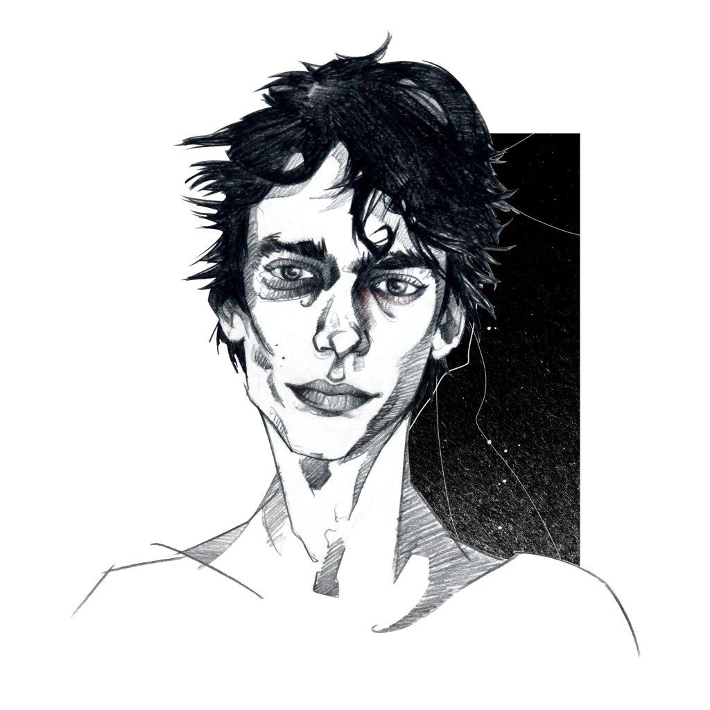 Portrait Illustration Deaken Bluman aus der Netflix Serie Tote Mädchen lügen nicht