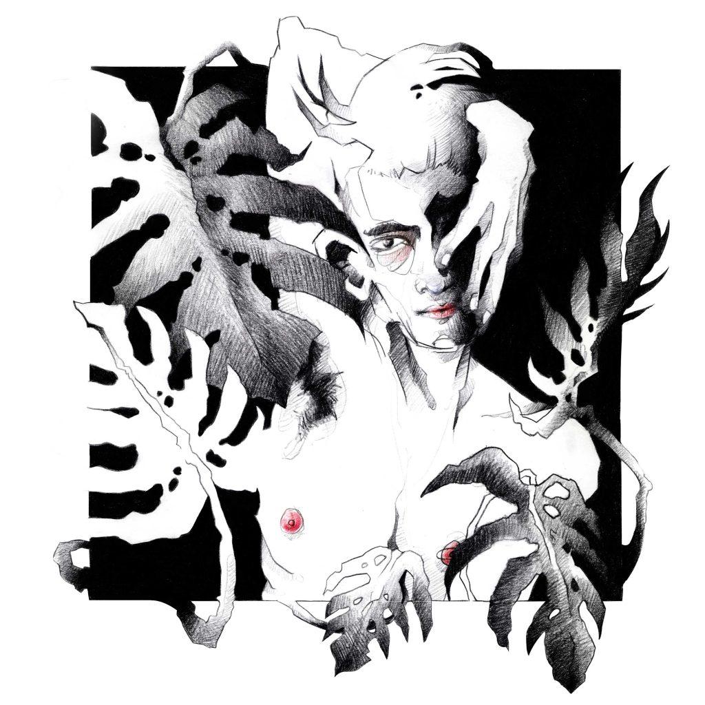 Portrait Illustration Mann im Quadrat mit Monstera Blättern