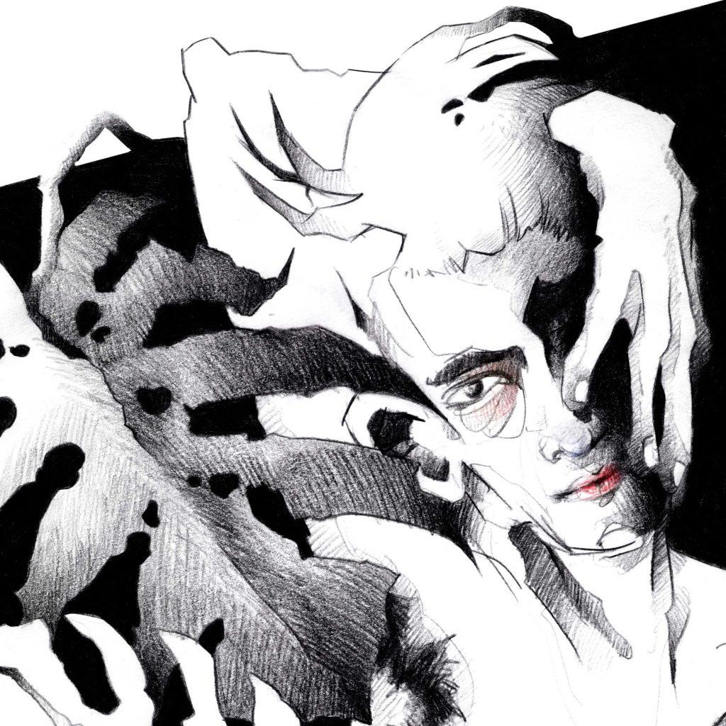 Ausschnitt Portrait Illustration Mann im Quadrat mit Monstera Blättern