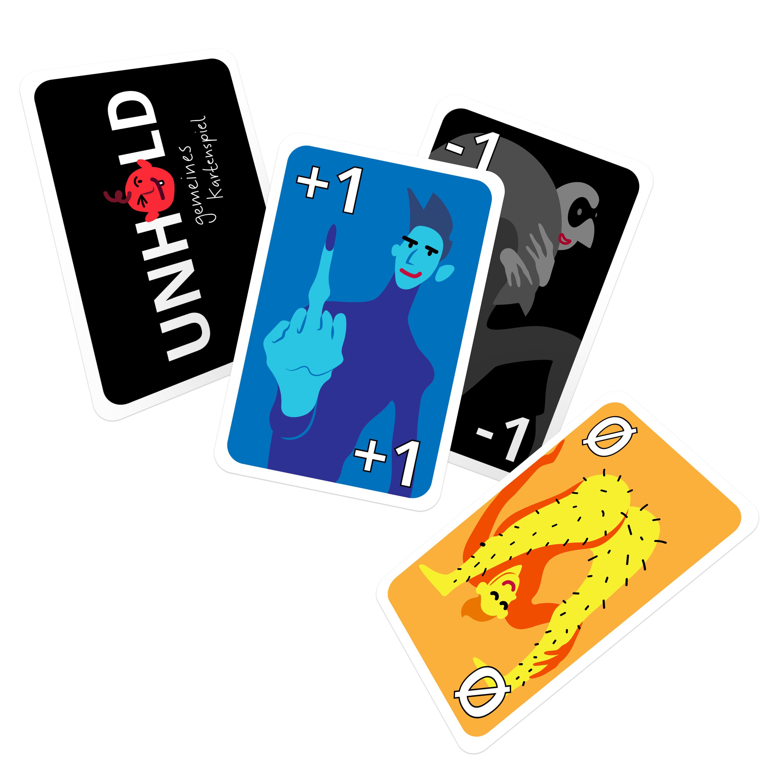 Vier Spielkarten Design mit verschiedenen Motiven