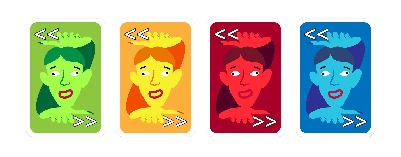 Übersicht Spielkarten Design Richtungswechsel Karte in den Farben grün, gelb, rot und blau