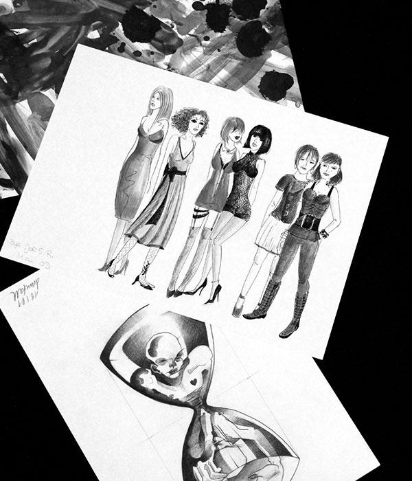 Ein Stapel alter Illustrationen von Frauen
